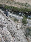 Rock Climbing Photo: Jeff approaching the belay station.