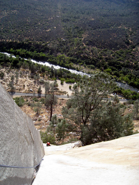 Rock Climbing Photo: Looking down P1 of The Lieback.
