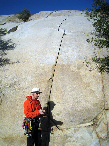 Rock Climbing Photo: Tim at the base of Initiation Crack