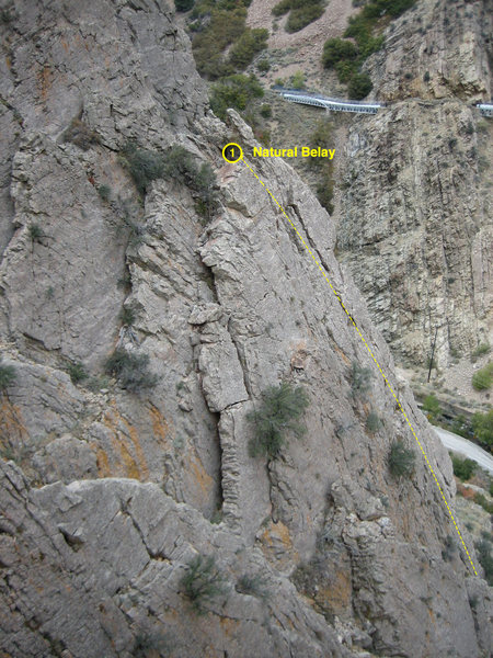 Rock Climbing Photo: Upper 5.8 Wall (lower section) viewed from atop Ut...