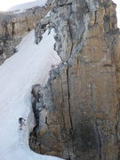 Rock Climbing Photo: George Lowe and Jack Tackle descend some snow betw...