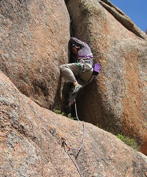 I tagged along as Ben and Rob were developing a new offwidth in the central formation.  Getting off the ledge proved impossible.  The route was named (appropriately) 'The Gelding Years'.  My voice is now a little higher....