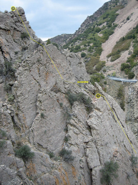 View of the upper portion of the Upper 5.8 Wall looking down from the top of Utah Wall. The two belay stations are seen.