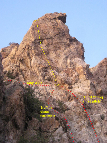 Rock Climbing Photo: The route with the approach options shown.
