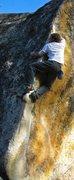 Rock Climbing Photo: Jeff Mckittrick works the tricky arete crossover. ...