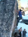 Rock Climbing Photo: Damion Estrada near the crux