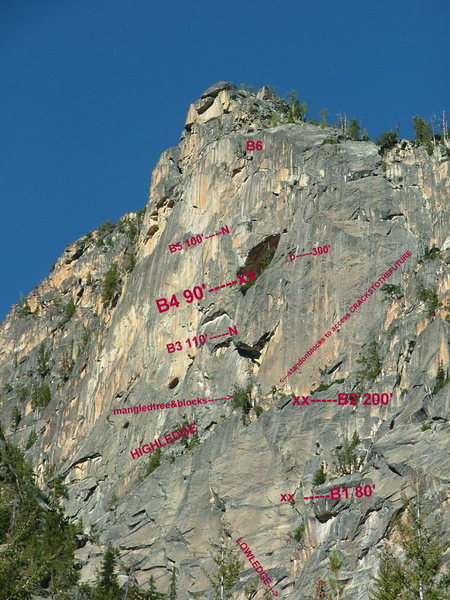 all pitches require double ropes to rappel.  Entire route can be rappelled with 2 -- 60 meter ropes