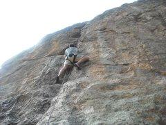 Rock Climbing Photo: Bernard half way up entering the third crux of the...