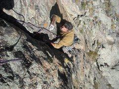 Rock Climbing Photo: Al flailing 1/2 way up the third pitch.