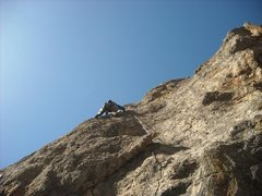 "Rock Climbing Photo: Bernard 1/2 way up pitch one with ""the beak&q..."