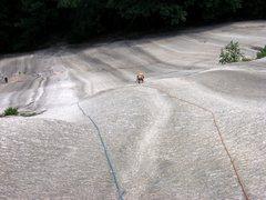 "Rock Climbing Photo: Diane starting up the ""Sliding Board"""