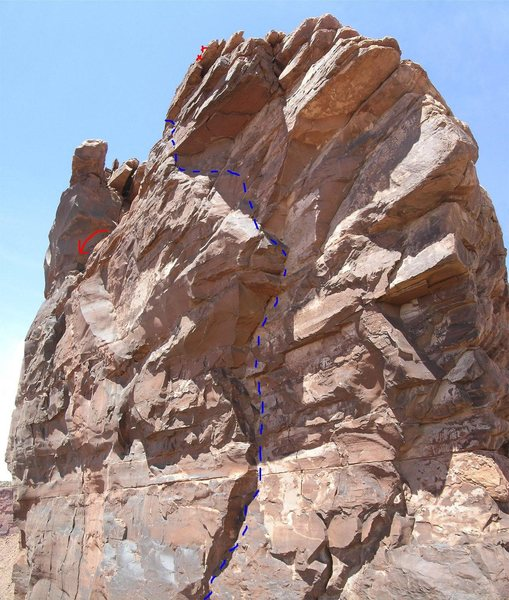 I copied Brad Brandewie's photo and added in some helpful details.  <br> <br> We belayed on the spacious summit ledge and then did the wild down-climb onto the bolt rap anchor (red X's).  <br> <br> I did see the slung block for Clearlight's summit rappel (red arrow).  Appeared easy to get to.  I'll try that way off next time.  <br> <br> Chalk is visible in this photo on many holds.  The crux is pulling/stemming left out of the overhung corner.
