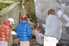 Left to right. Me Zach Thompson Conor Raney bouldering and Logan Jamison. Squamish <br />