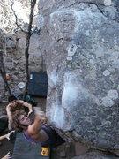 Rock Climbing Photo: Jaya slapping for the sloper on Double Dip. Photo ...
