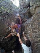 Rock Climbing Photo: Jaya setting up on Double Dip.