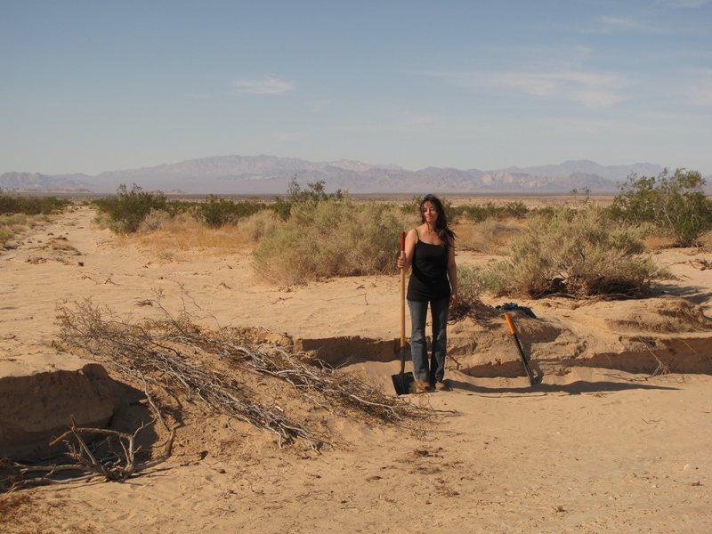 Gigi with shovel.
