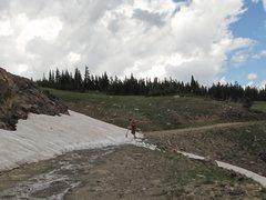 Rock Climbing Photo: Cutting snow.