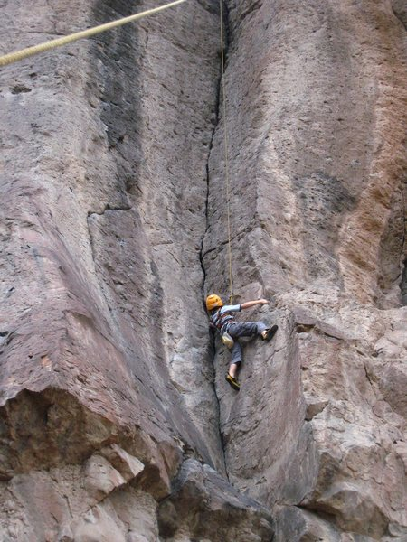 Rock Climbing Photo: Cody getting established in the crack. Fingers?? D...