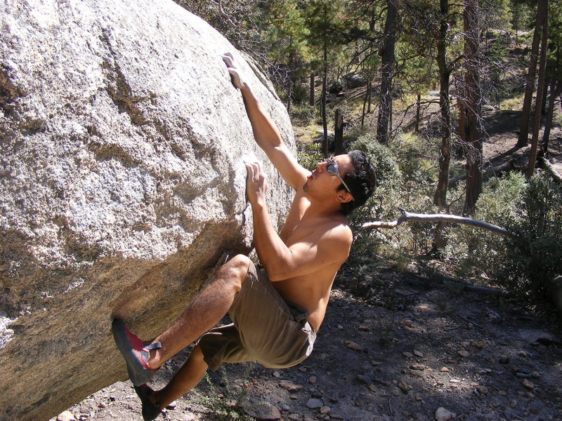 Trey Lewis on Dry Rain (V9), Rose Canyon Entrance Boulders, Mt. Lemmon, Az.