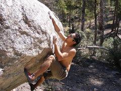 Rock Climbing Photo: Trey Lewis on Dry Rain (V9), Rose Canyon Entrance ...
