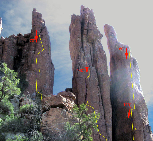 Rock Climbing Photo: Overview of Microskunk Area:   1) Faith, Hope, and...