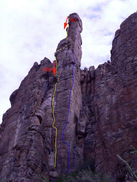 Rock Climbing Photo: Yellow: The Shmotem Pole Blue: High Man on the Shm...