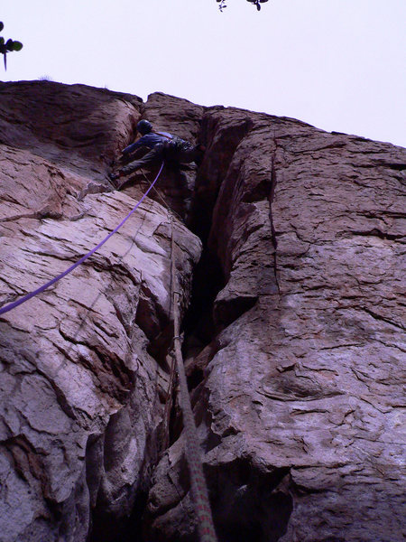 Geir Hundal on the FA of the Shmotem Pole.