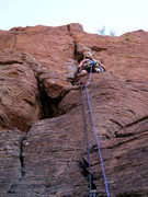 Rock Climbing Photo: Marcy on the FA of El Throatchoker Grande, just ab...