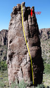 Rock Climbing Photo: Overview of Entrance Tower.  Unknown (The FA that ...