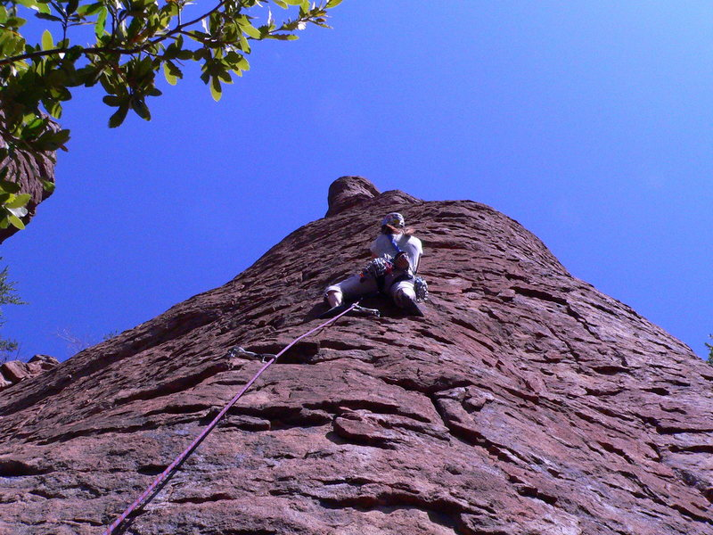 Rock Climbing Photo: Marcy on the FA of Pigtails & Powerdrills