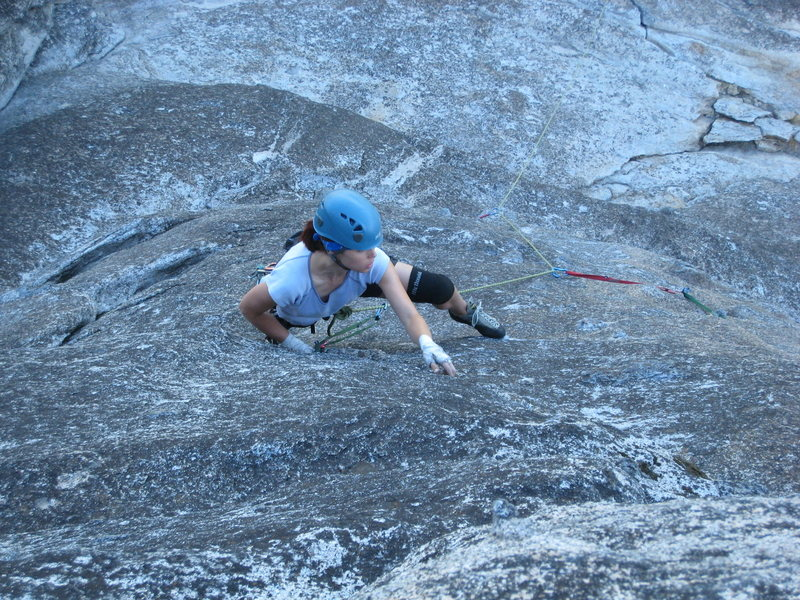 Tiptoeing up the upper tier face as an alternate finish to the Regular Route.  <br> <br> September 2009