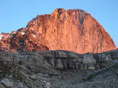 Rock Climbing Photo: Sunrise alpenglow on the East Face of Bugaboo Spir...