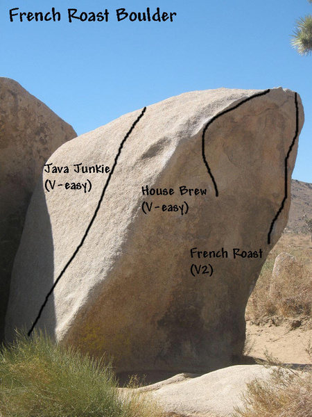 Photo/topo for the French Roast Boulder, Joshua Tree NP.