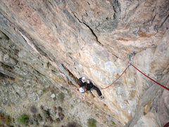 Rock Climbing Photo: In the midst of the crux heading toward the mantle...