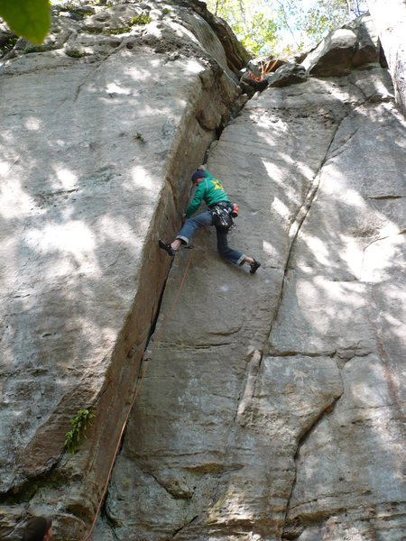 Rock Climbing Photo: Rhoads sticking the crux of Donkey  a long time ag...