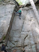 Rock Climbing Photo: Rhoads past the crux. Last piece placed, heading f...