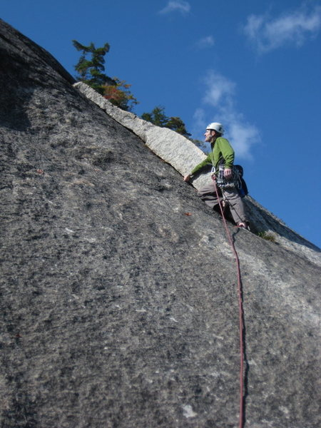 """Rock Climbing Photo: Lee heading starting up pitch """"four"""""""