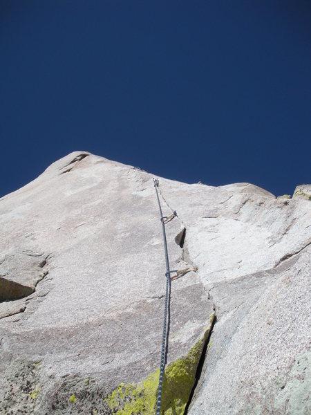 Rock Climbing Photo: The beautiful 3rd pitch splitter crack of Reunion.