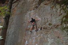 Rock Climbing Photo: Bradley K. clipping during Rocktoberfest.