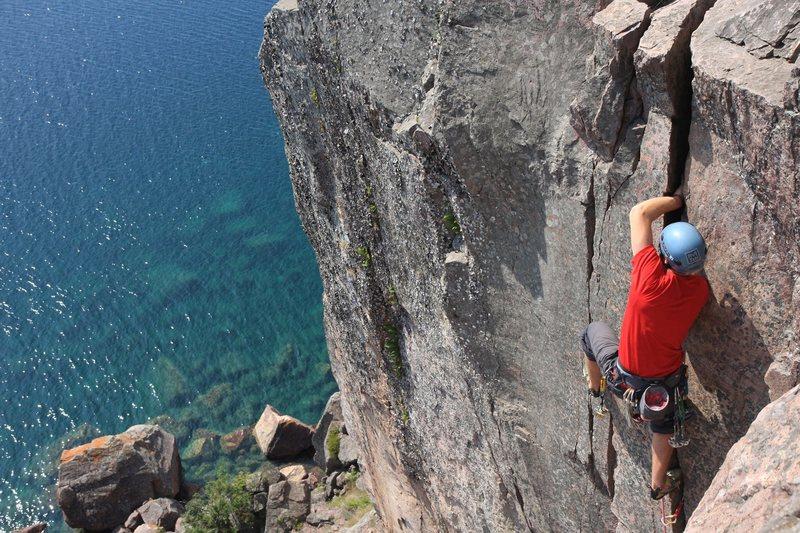 Rock Climbing Photo: me leading phantom. Photo: Taylor Krosbakken
