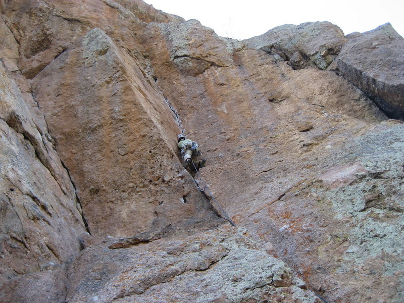 Climber is on Jorgie's Crack@SEMICOLON@ Swallow Crack on left