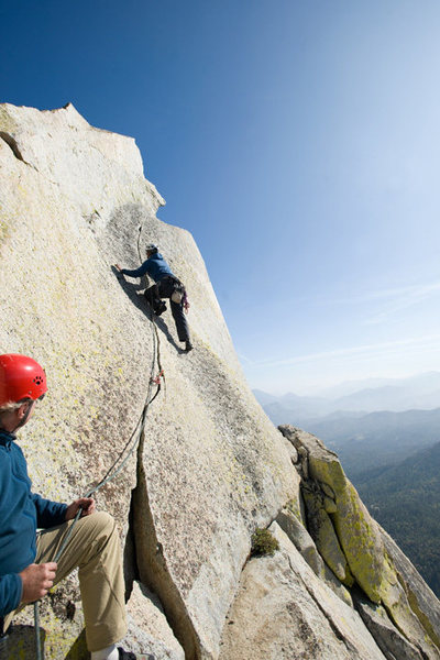 Matthew Fienup leads &quot;Our Lady of the Needles,&quot; on the Charlatan Needle.<br> <br> photo by Tyson Dimmitt