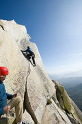 """Rock Climbing Photo: Matthew Fienup leads """"Our Lady of the Needles..."""