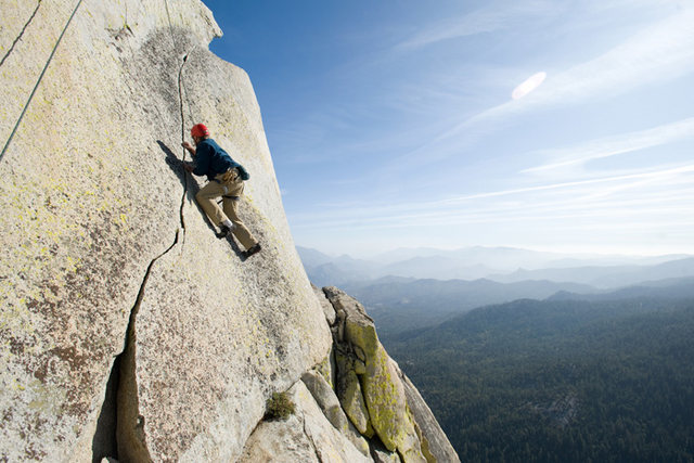 """Michael McKay climbs """"Our Lady of the Needles"""" on the Charlatan."""