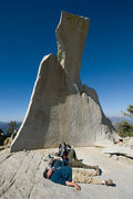 Rock Climbing Photo: Michael & Tyson relax beneath the Lady...atop Char...