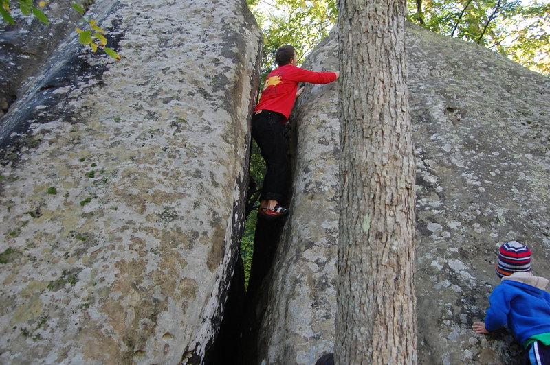 Downclimb crack