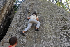 Rock Climbing Photo: Kianna bouldering just right of downclimb crack.