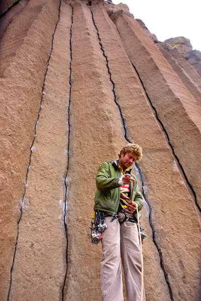 Rock Climbing Photo: Tim gearing up.  Mr. Squiggles is the obvious squi...