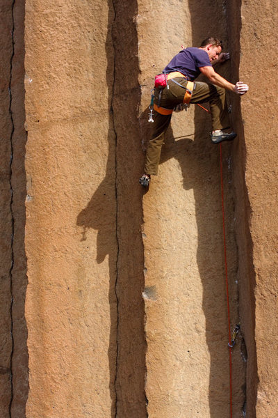 Tommy Caldwell working on the project immediately to the left of Gold Rush.<br> <br> The first 5.13 at Trout Creek?