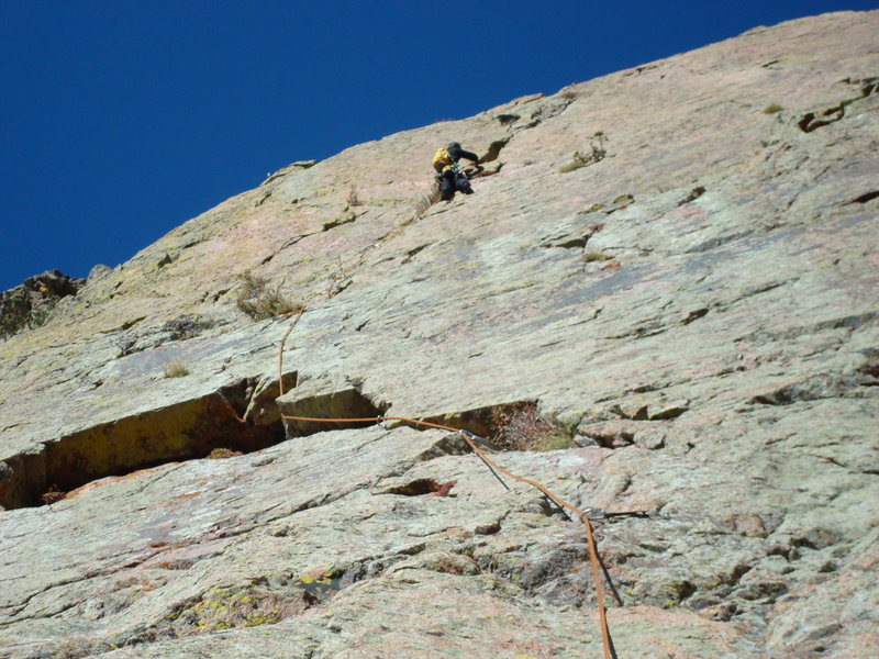 Rock Climbing Photo: High on the 10a top pitch. The last pitch is fun a...